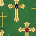 SPECIALTY FABRICS ROOM: Crosses with Metallic Accents on Green: We Three Kings for Windham Fabrics
