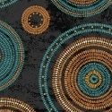 Turquoise and Rust Basket Rings on Black:  Adobe by Whistler Studios for Windham