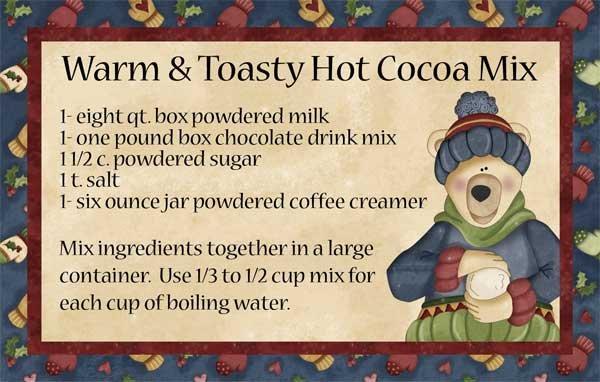Small Hugs & Holly Polar Bear Cocoa Recipe Card