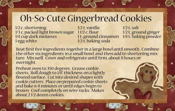 Small Hugs & Holly Gingerbread Cookie Recipe Card