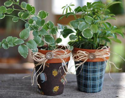 Fabric-Covered Flower Pots